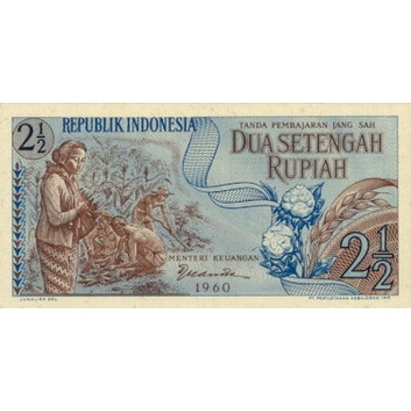 1960 - Indonesia pic 77 billete de 2 1/2 Rupias