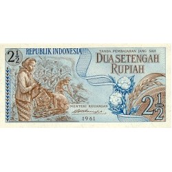 1961 - Indonesia PIC  79     2 1/2 Rupees banknote