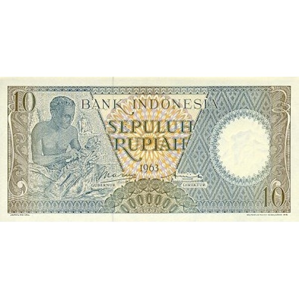 1963 - Indonesia pic 89 billete de 10 Rupias