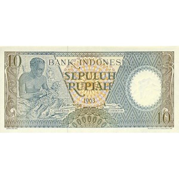 1963 - Indonesia pic 89 billete de 10 Rupias