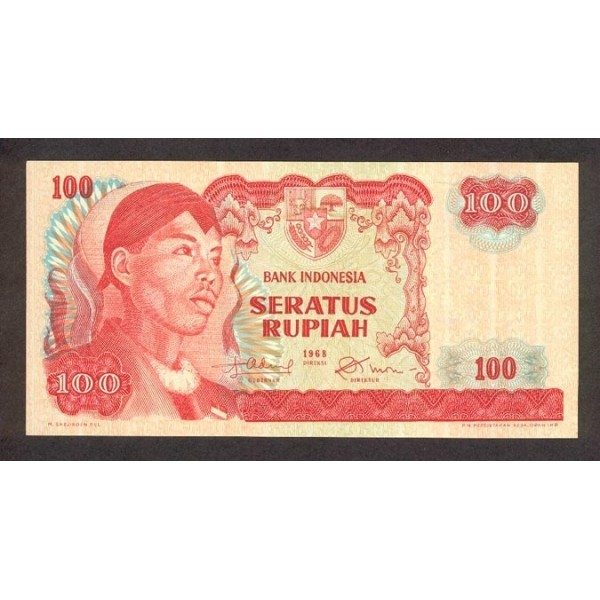 1968 - Indonesia PIC  108    100 Rupees banknote