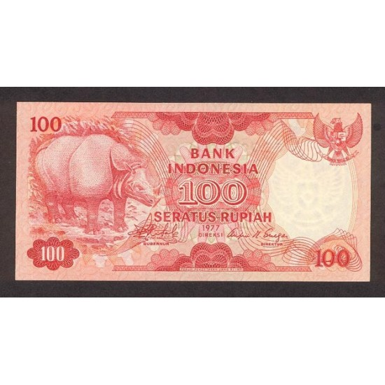 1977 - Indonesia PIC  116    100 Rupees banknote