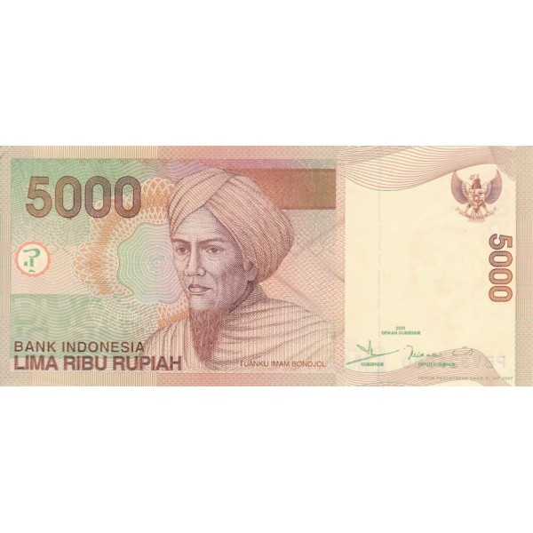 2001 - Indonesia pic 142a billete de 5000 Rupias