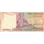 2001 - Indonesia PIC  142a    5000 Rupees banknote