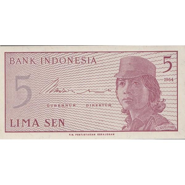 1964 - Indonesia pic 91 billete de 5 Sen