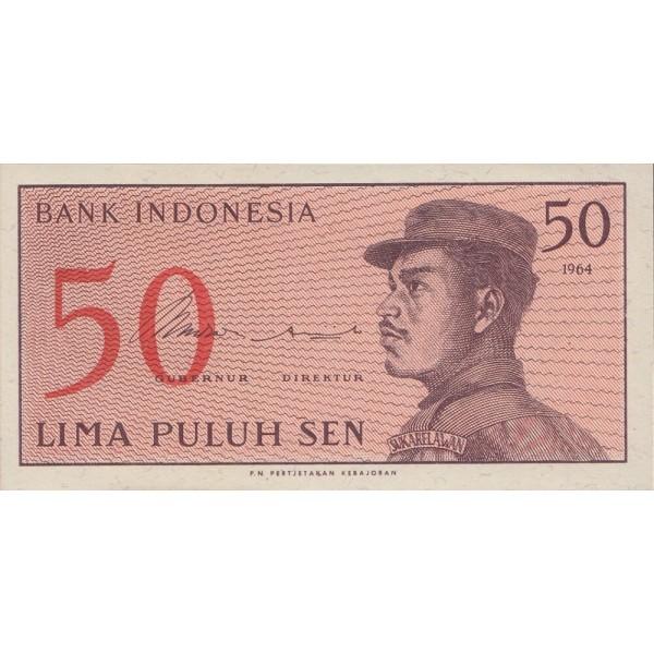 1964 - Indonesia PIC  94     50 Sen  banknote