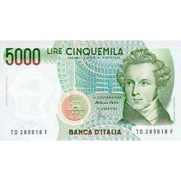 1985 - Italy PIC 111b   5.000 Liras VF  banknote