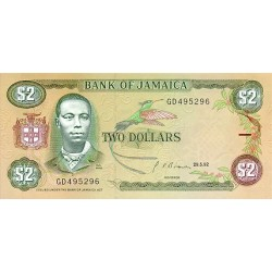 1992 - Jamaica  Pic 69d     2 Dollars banknote
