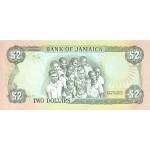 1993 - Jamaica  Pic 69e     2 Dollars banknote