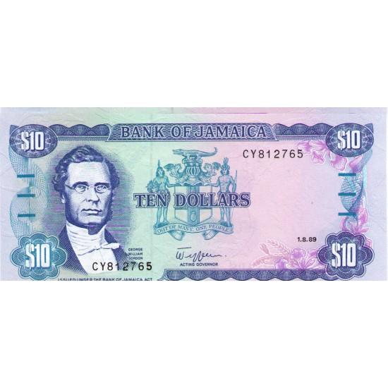 1989 - Jamaica P71c 10 Dollars banknote