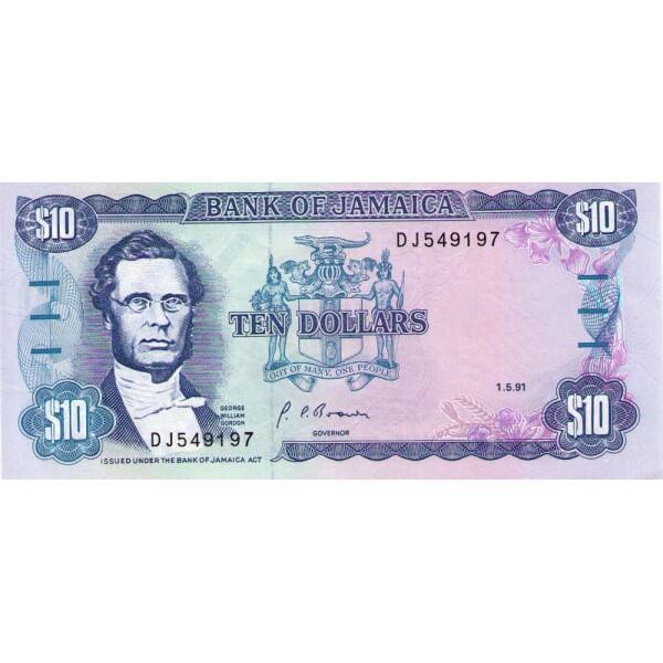 1991 - Jamaica P71d billete de 10 Dólares