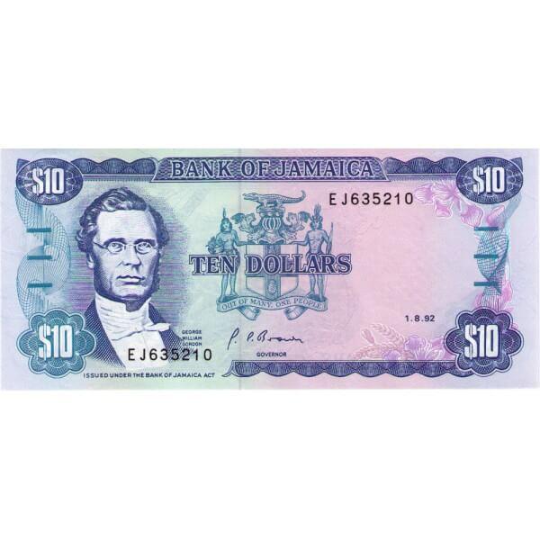 1992 - Jamaica P71d billete de 10 Dólares
