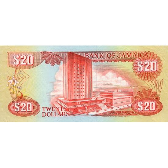 1989 - Jamaica P72c 20 Dollars banknote