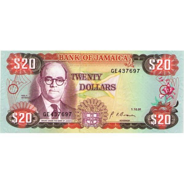 1991 - Jamaica P72d 20 Dollars banknote