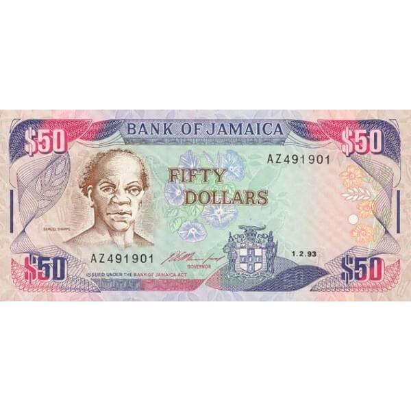 1993 - Jamaica P73b billete de 50 Dólares