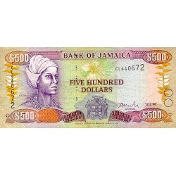 1994 - Jamaica P77a 500 Dollars banknote