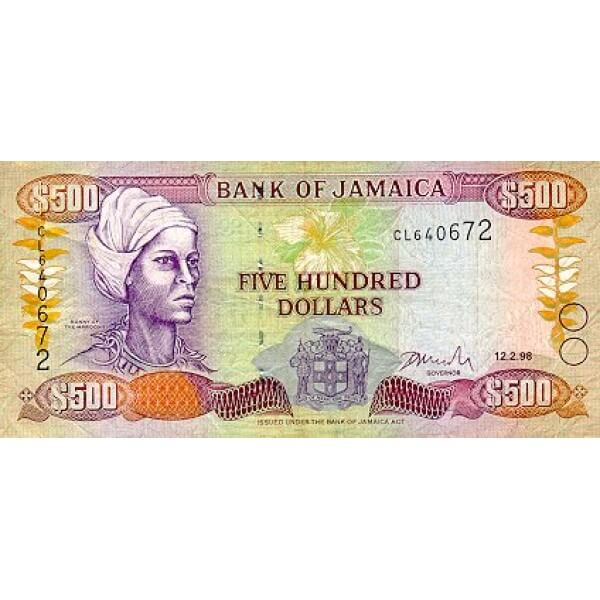 1994 - Jamaica P77a billete de 500 Dólares