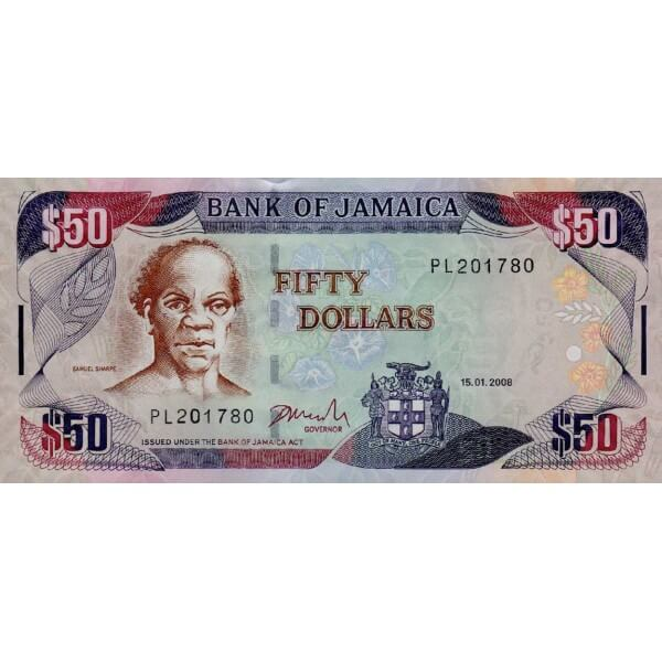 2008 - Jamaica P83c billete de 50 Dólares