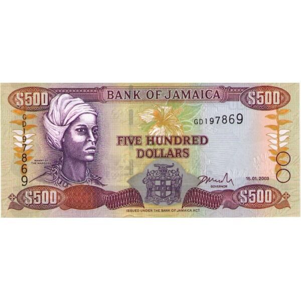 2003 - Jamaica P85a 500 Dollars banknote
