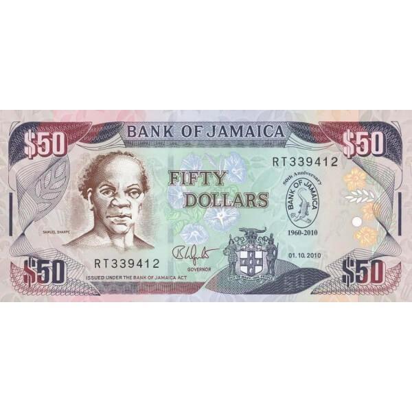 2010 - Jamaica P88 billete de 50 Dólares
