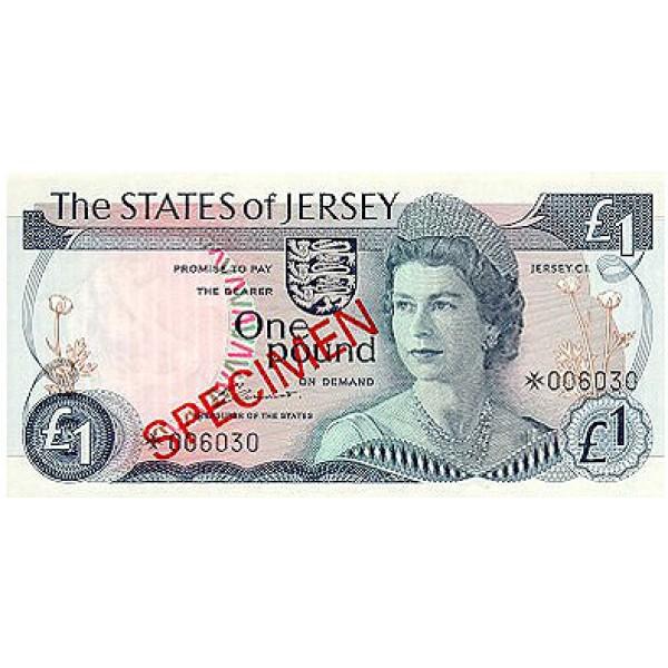 1976- Jersey PIC 11s    1 Pound  banknote Specimen