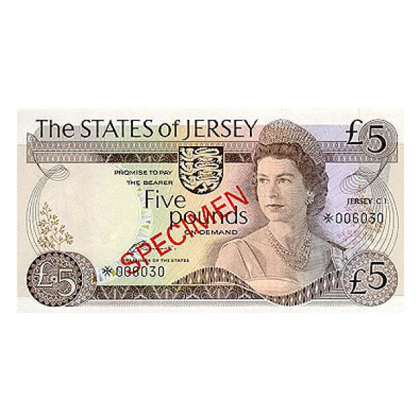 1976- Jersey PIC 12s    5 Pounds  banknote Specimen