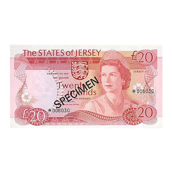 1976 - Jersey PIC 14s    20 Pounds  banknote Specimen