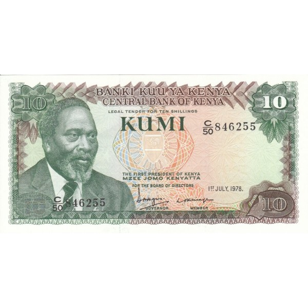 1978-  Kenia pic 16  billete de   10 Shillings