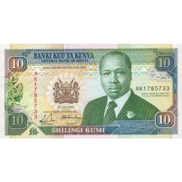 1994 - Kenya Pic 24b 10  Shillings  banknote