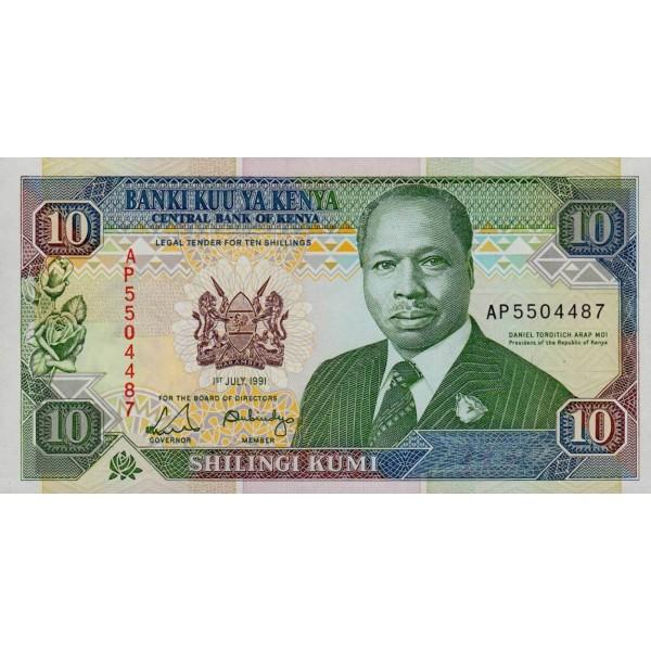 1991-  Kenia pic 24c  billete de   10 Shillings
