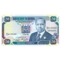 1991- Kenya Pic 25d  20  Shillings  banknote