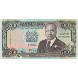 1990 - Kenya Pic 29b 200  Shillings  banknote