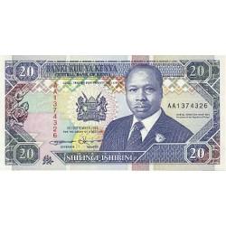 1993 - Kenya Pic 31a 20  Shillings  banknote