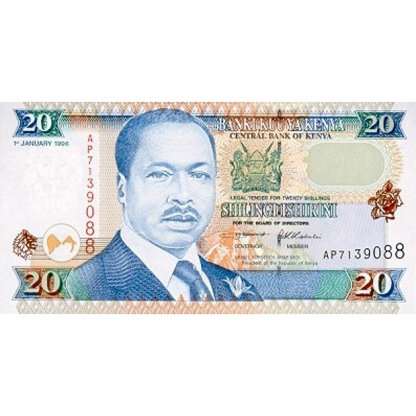 1997-  Kenia pic 35b  billete de   20 Shillings