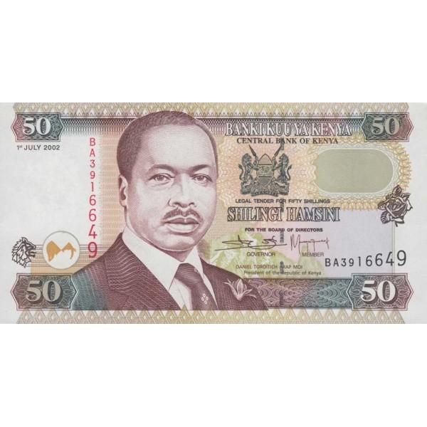 2002-  Kenia pic 36g  billete de   50 Shillings
