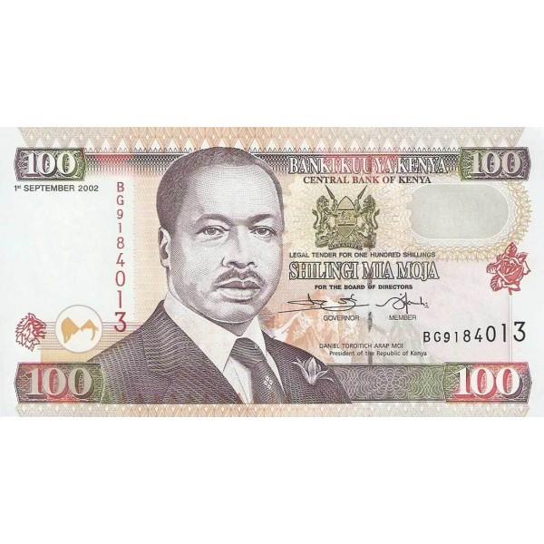 2002-  Kenia pic 37h  billete de   100 Shillings