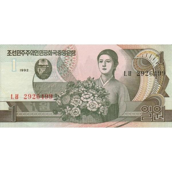 1992 - North_Korea  PIC 39a    1 Won  banknote