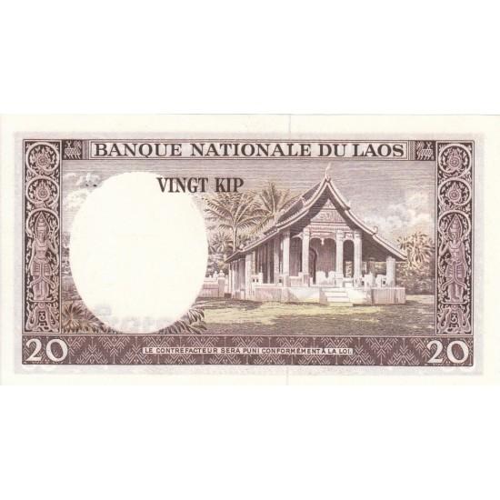 1963 - Laos PIC 11b    20 Kip banknote