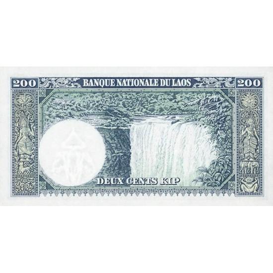1963 - Laos PIC 13b    200 Kip banknote