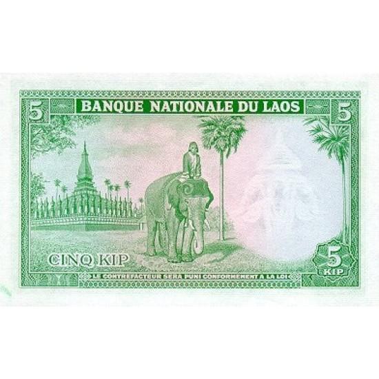 1962 - Laos PIC 9b    5 Kip banknote