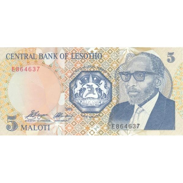 1989 - Lesotho  pic 10a  billete de 5 Maloti