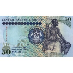 1992- Lesotho Pic 14a  50 Maloti  banknote