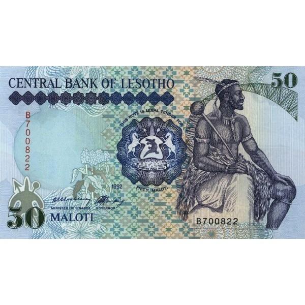 1992 - Lesotho  pic 14a  billete de 50 Maloti