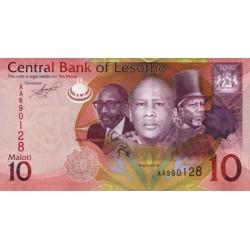 2010- Lesotho Pic 21a  10 Maloti  banknote