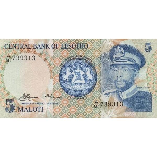1981 - Lesotho  pic 5a  billete de 5 Maloti