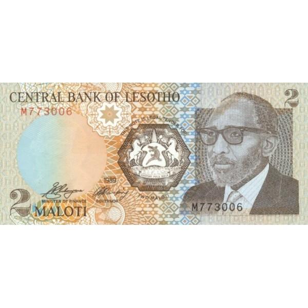 1989 - Lesotho  pic 9a  billete de 2 Maloti