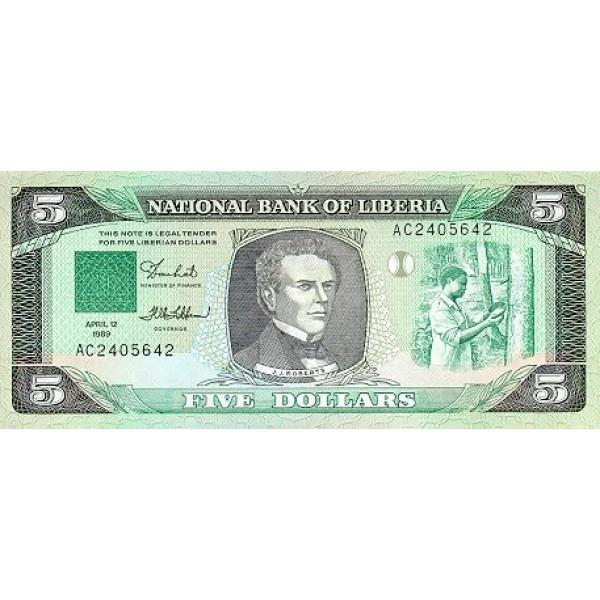 1989 - Liberia pic 19 billete de 5 Dólares