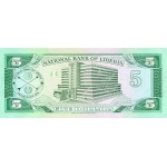 1989 - Liberia   Pic 19    5 Dollars  banknote