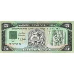 1991 - Liberia   Pic 20    5 Dollars  banknote