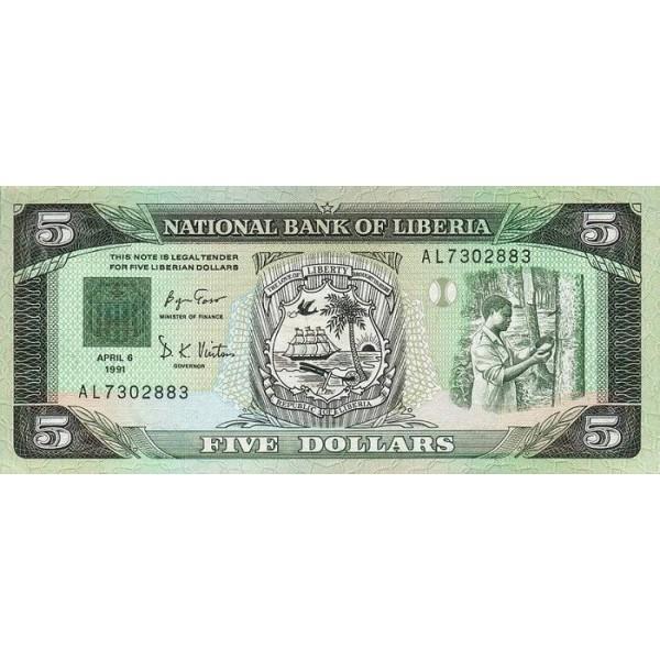 1991 - Liberia pic 20 billete de 5 Dólares